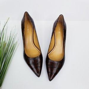 Nine West 'Austin' Croc Pattern Leather Heels